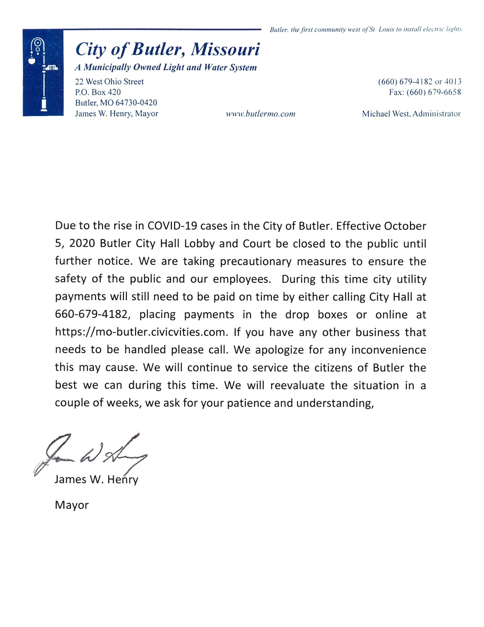 City of Butler Closed